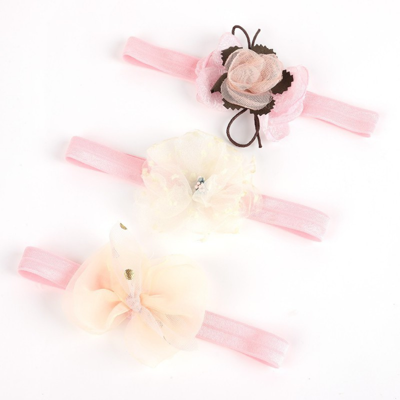 Pack Of 3 Baby Girl Cute Lace Stretch Sequin Bow Elastic Headband Molding Hair Band Accessories
