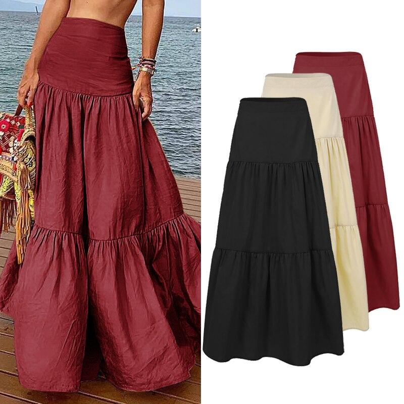 ZANZEA Women Long Skirts Casual Ruffles Female Vintage Maxi Skirt Cotton Linen Vestidos A-line Skirts Jupe Femme Streetwear 5XL
