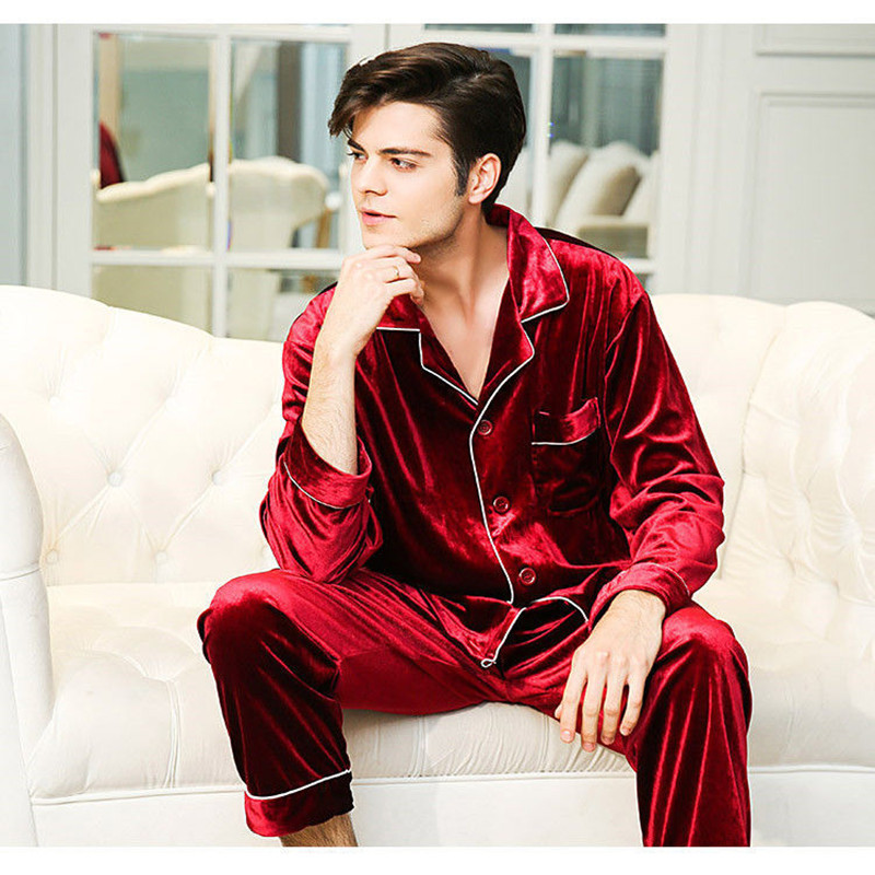 Pant Pajamas-Set Velvet Sleepwear Warm Winter Home Man Fashion Long-Shirt Pjs Sexy Men