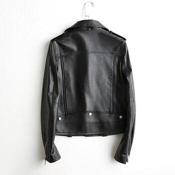 Chaqueta de cuero auténtico para mujer, de cuero auténtico chaqueta corta, estilo...