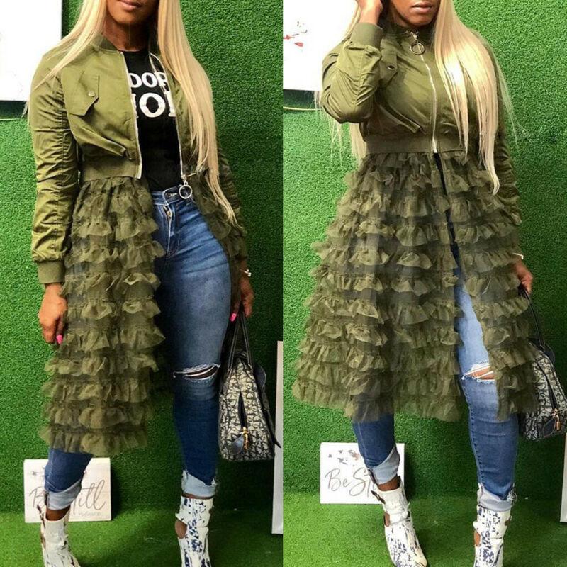Women Ruffled Mesh Sheer Patchwork Long Sleeve Zipper Pocket Long Jacket Coat