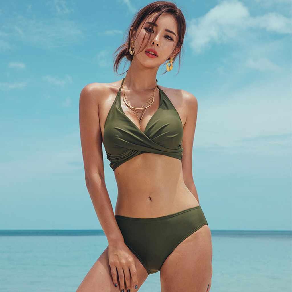 موضة الصيف الجديدة لحمام السباحة عطلة البحر المرأة السببية مثير 3 قطعة مجموعة ضمادة الصلبة بيكيني الكورية طباعة ملابس السباحة بحر