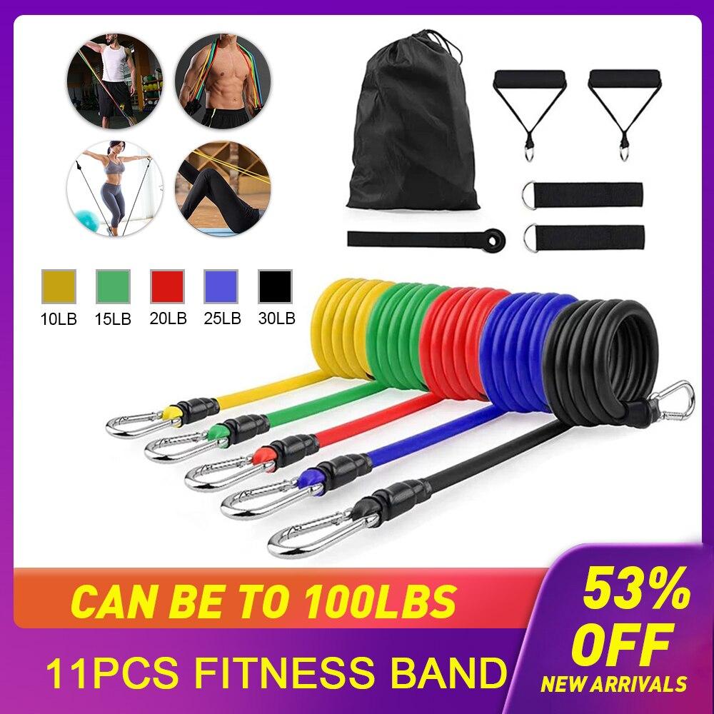 11 adet sıkılaştırma bandı çapa ayak bileği sapanlar direnç Band Yoga streç çekme halatı genişletici direnç bandı spor ekipmanları egzersiz halatları