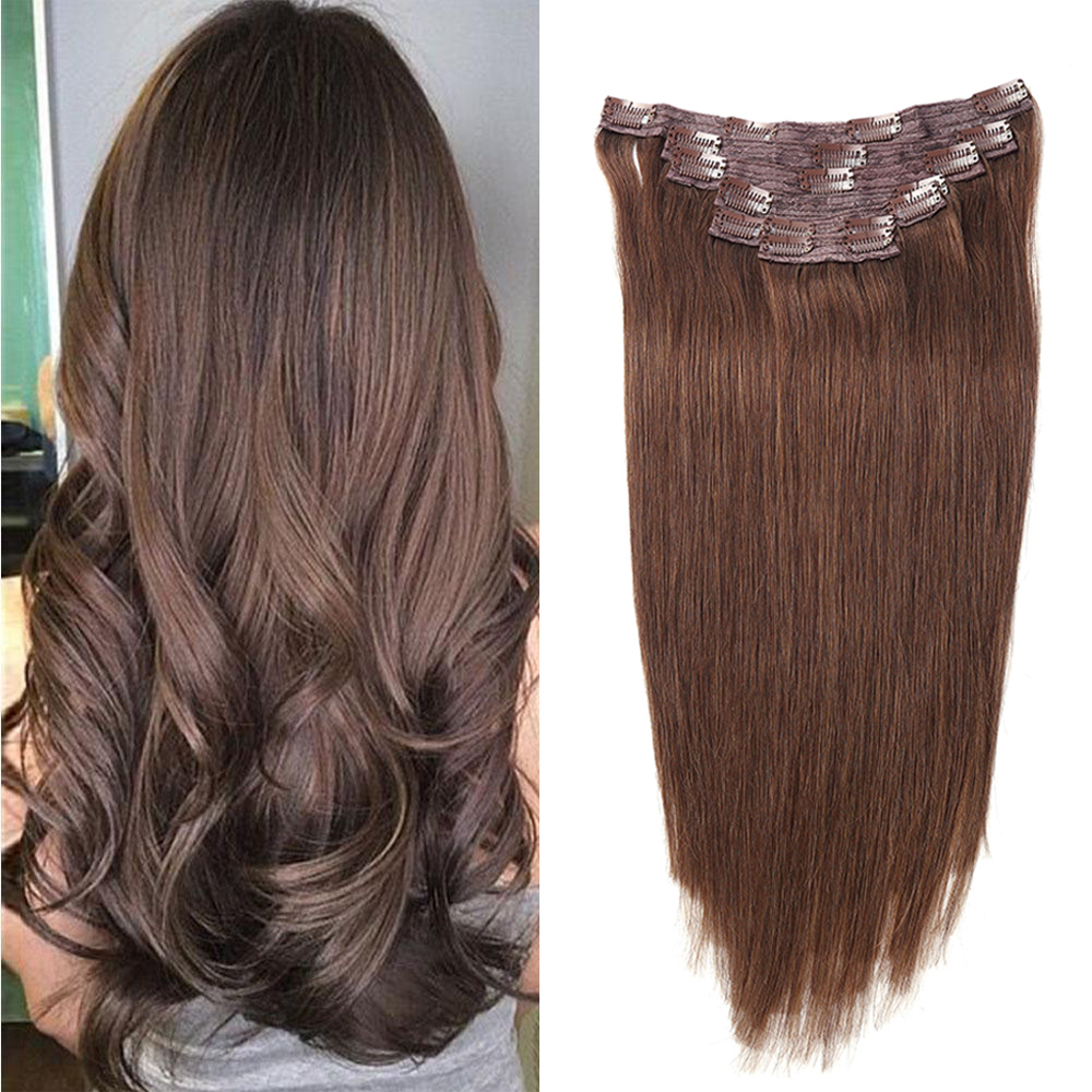 Sindra Remy Straight Clip In Human Hair Extensions 14''-24inch 100% Human Hair Clips In Hair Extensions Color 4