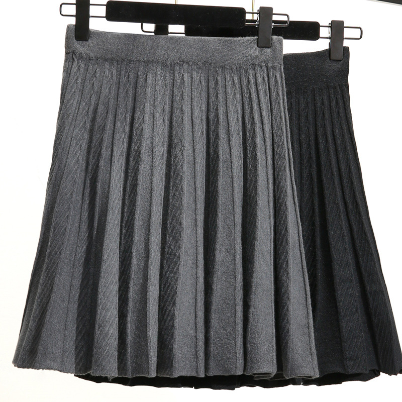 Photo Shoot 2019 Autumn And Winter New Style Knitted Short Skirt High Waist Skirt Solid Color Versatile Tutu Slimming Pleated Sk