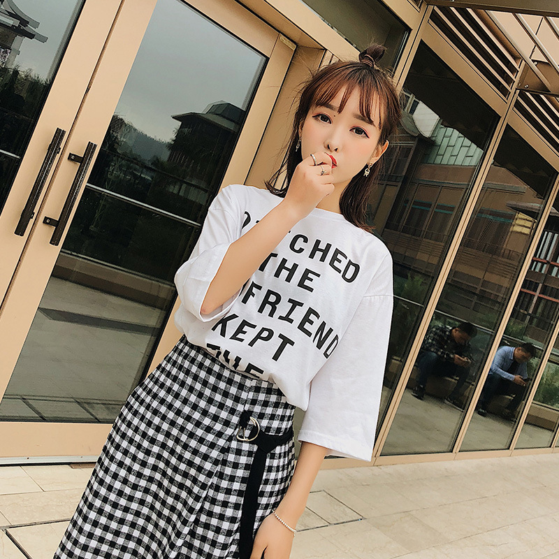 [Dowisi] 2018 Summer Wear New Style WOMEN'S T-shirt Plaid Skirt Two-Piece Set Leisure Suit F6362