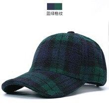 Homens e mulheres inverno ao ar livre quente feltro pico bonés pai casual casquette grossa adulto xadrez lã chapéus de beisebol 55-62cm