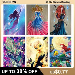 ZOOYA 5D Diamond Painting Full Mermaid DIY Embroidery Diamond Princess Diamond Mosaic Cartoon Diamont Painting Home Decor JM001