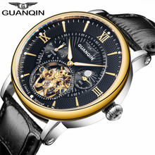 GUANQIN Mens Watches Top Brand Luxury Tourbillon Automatic Mechanical Watch Men Casual Fashion Leather Strap Skeleton Wristwatch forsining top brand luxury mechanical watch men tourbillon small sub dials display magnet strap 2018 new fashion auto wristwatch
