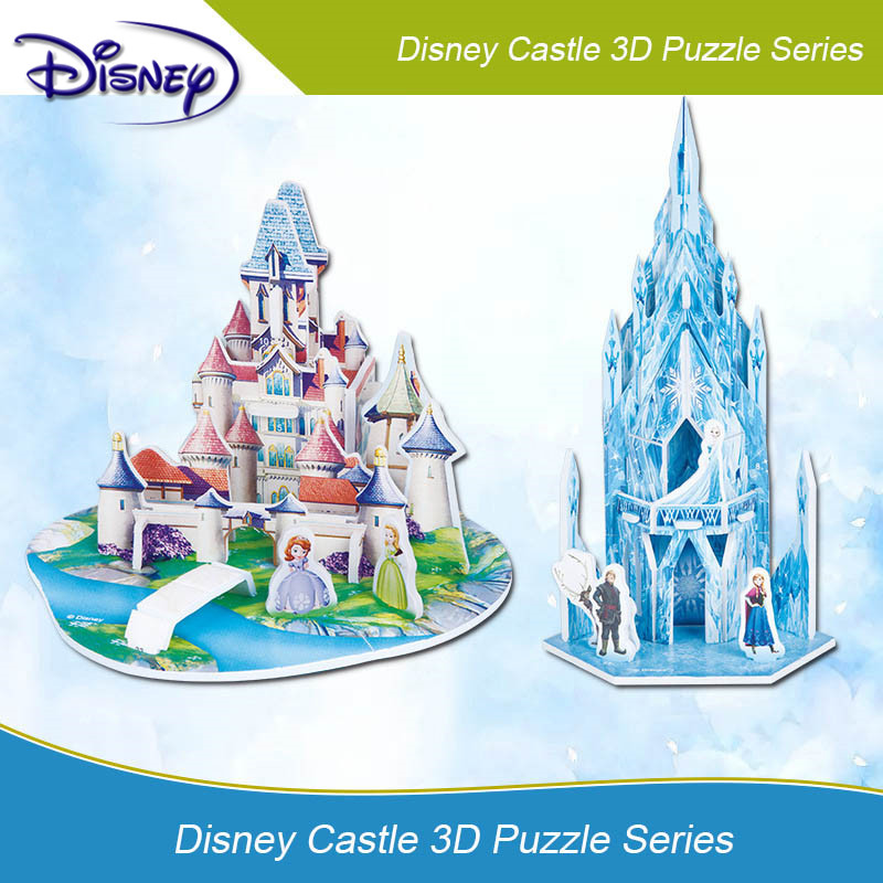 Disney 3D DIY Frozen Puzzle Jigsaw Baby Toy Kids Birthday Party Supplies Gift For Children Castle Puzzle