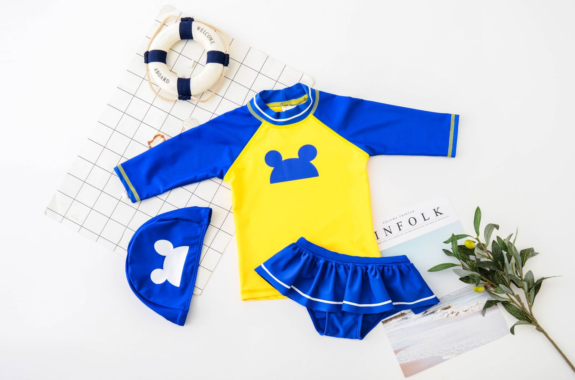 New Korean-style Split Type KID'S Swimwear Cartoon Skirt GIRL'S Swimsuit Sun-resistant Surf Wear CHILDREN'S Swimsuit