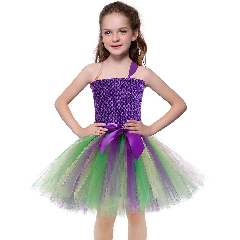 Girls Mardi Gras Party Dress Baby One Shoulder Knee Length Girls Dress 5 to 7 Years Teen Back to School Purple Solid Tutu Dress (4)
