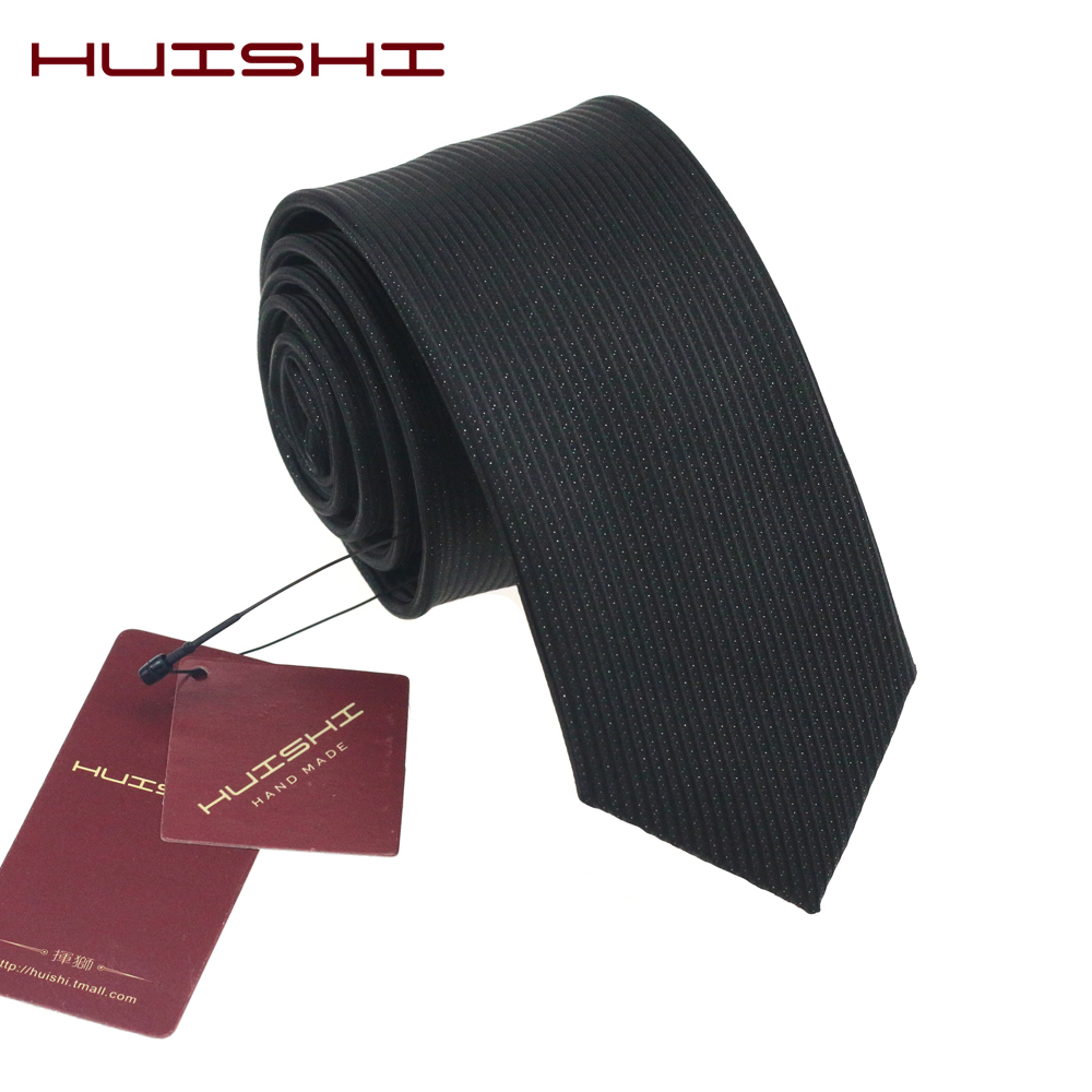 HUISHI Classic Simple Plain Black Mens Ties Business Stripe 8cm And 6cm Neckties Jacquard Woven Polyester Slim Wedding Gift
