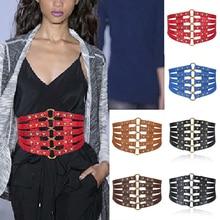 Fashion Self Tie Wide Belts Black Faux Leather Corset Body Shaper Elastic slim waistband retro Punk Rivet female belt Cummerbund