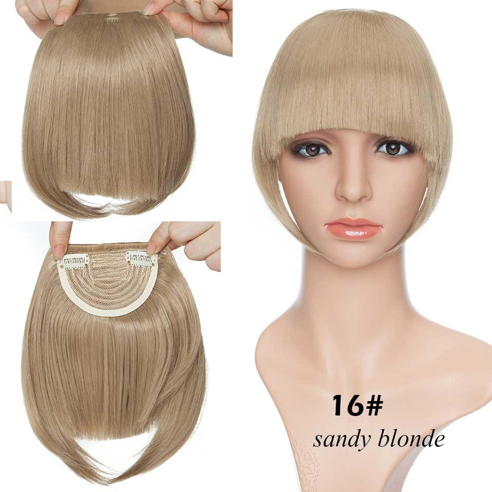 SNOILITE короткие передние тупые челки Клип короткая челка волосы для наращивания прямые синтетические настоящие натуральные накладные волосы - Цвет: sandy blonde