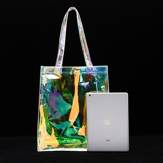 Sac fourre-tout en PVC holographique clair sac de plage arc-en-ciel brillant Premium irisé sac à provisions promotionnel