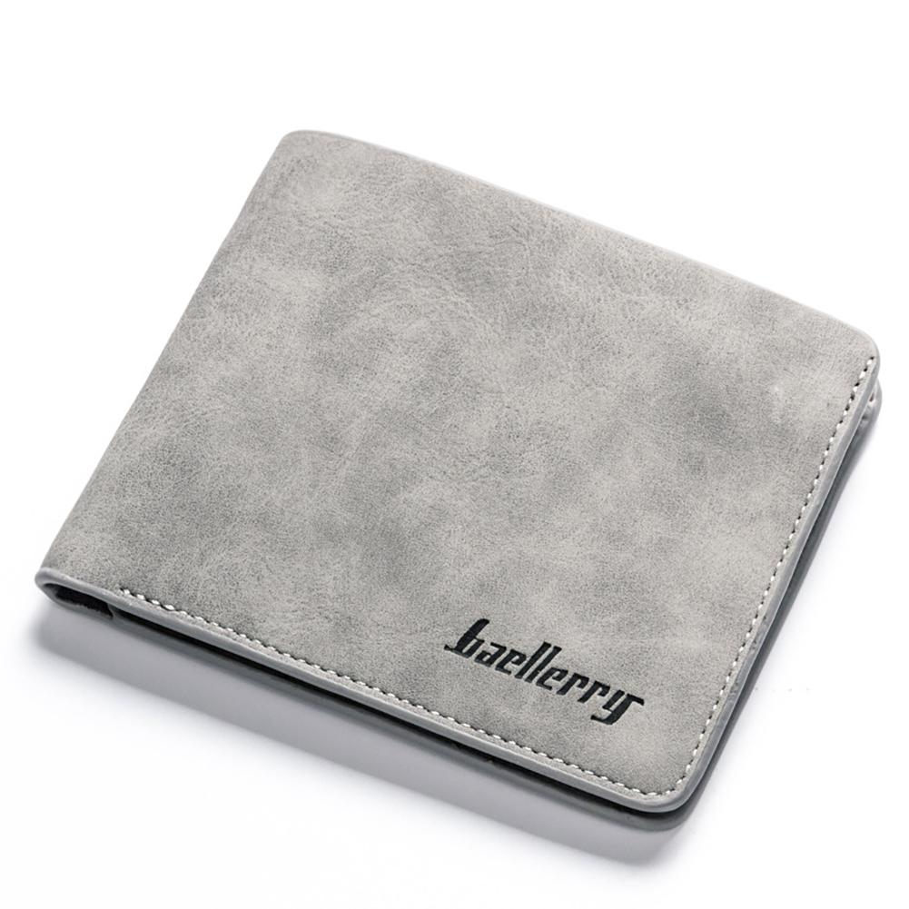 PinShang Men Retro Frosted PU Wallet Two Folding Male Purse Credit Card Holder Solid Color Short Wallet