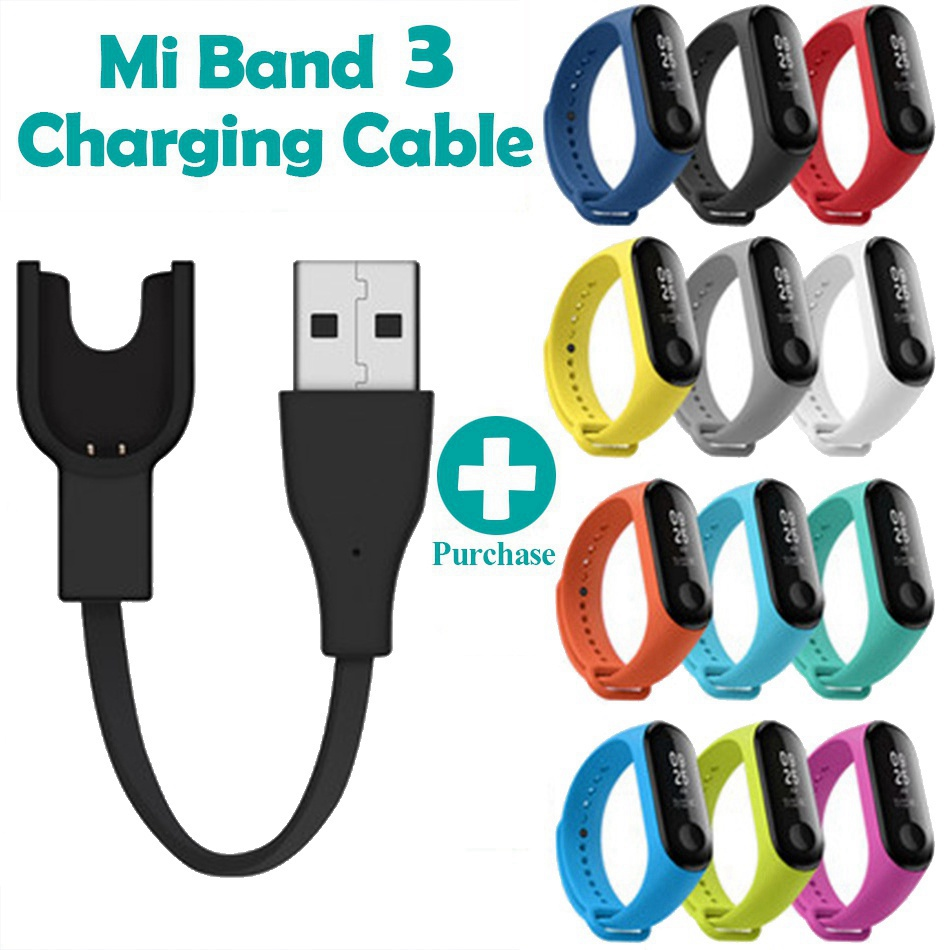 USB Charging Cable For Mi Band 3 Charger Cord Replacement Smart Adapter For Xiaomi MiBand 3 Charging Cable Silicone Wrist Strap