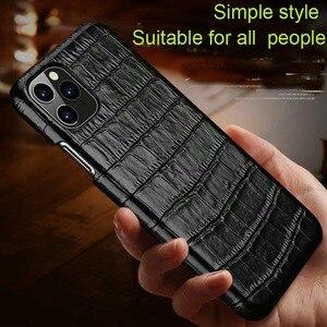 Image 2 - Funda de cuero genuino para iPhone, funda trasera de lujo para iPhone X XR XS Max 11Pro 12Pro SE 2020, 12 Mini 11 Pro Max 7 8 Plus