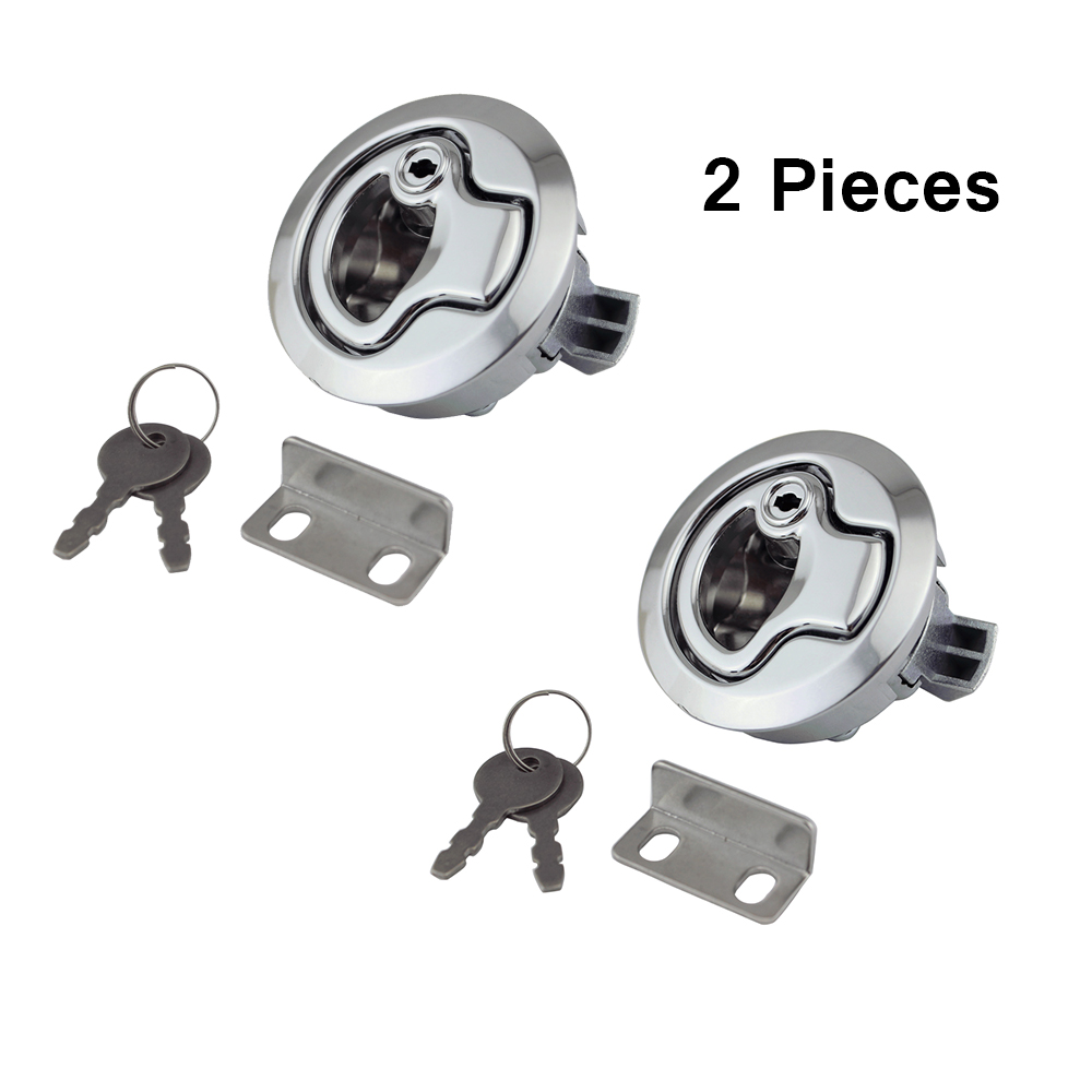 2pcs Flush Mount Hatch Flush Pull Latch Marine Lock With Key Stainless Steel Lift Slam Latch Hardware For Boat Yacht Deck Hatch