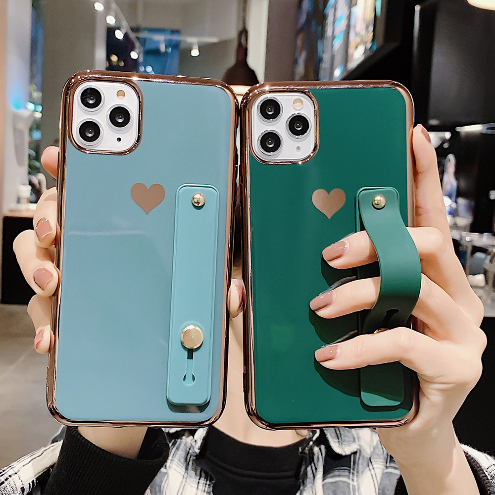 LOVECOM Wrist Strap Band Heart Phone Cases For IPhone 11 Pro Max XS Max XR 6 6S 7 8 Plus X Solid Color Soft TPU Back Cover Gift