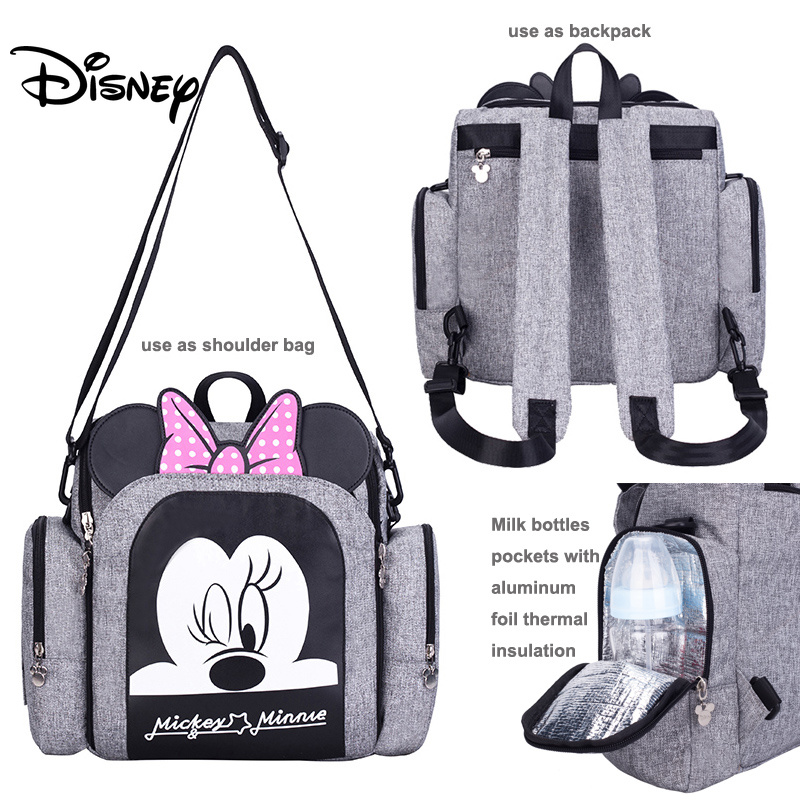 Disney Diaper Bag Backpack Baby Bags For Mom Wet Bag Fashion Mummy Maternity Diaper Organizer Mickey Minnie Chair Bag Pram