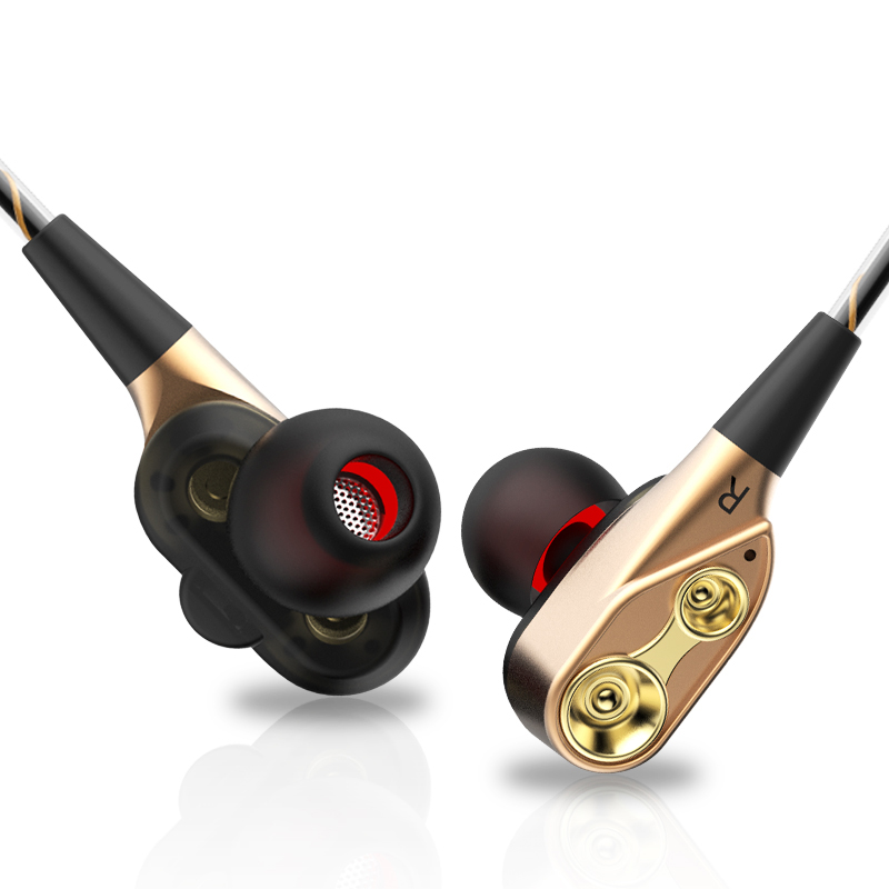 Amorno Double Moving Coil In-ear Earphone Four Speaker Double Dynamic Headphone HiFi Headset Built-in Mic Wired 3.5mm Earpiece