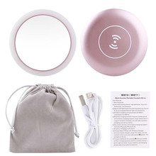 Portable LED Mini Makeup Mirror Circular Multifunctional Compact Travel Sensing Lighting Cosmetic Wireless USB Charging