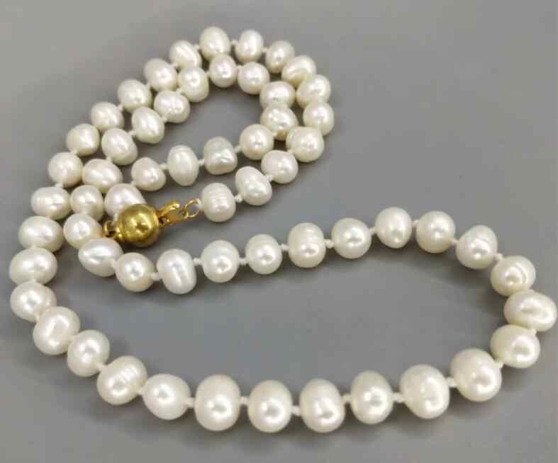 Bijoux collier de perles naturel wihte collier de perles d'eau douce 6-7mm livraison gratuite