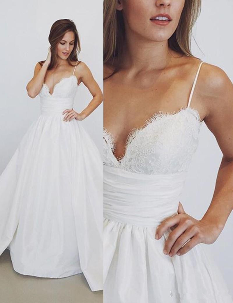 Elegant Spaghetti Straps Lace Wedding Dresses 2019 A-Line Bride Bridal Gowns Sexy Taffeta Modest Wedding Gowns Plus Size Vestios