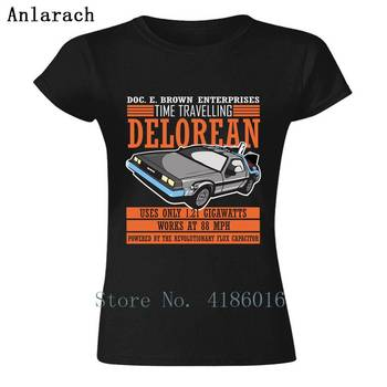 Awesome Tshirt Doc. E. Brown Enterprises Time Travelling Delorean Women T Shirt For Outfit Humorous T-Shirt Big Sizes HipHop image