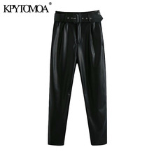 KPYTOMOA Women 2020 Chic Fashion With Belt Side Pockets Faux Leather Pants Vintage High Waist Zipper Fly Female Trousers Mujer