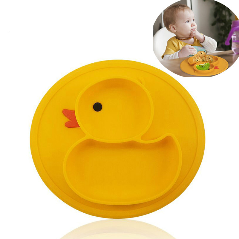 Baby Duck Dishes Silicone Plate Suction Tray Antislip Mini Mat Children Kids Meal Fruits Tray Todder Placemat Solid Feeding Bowl