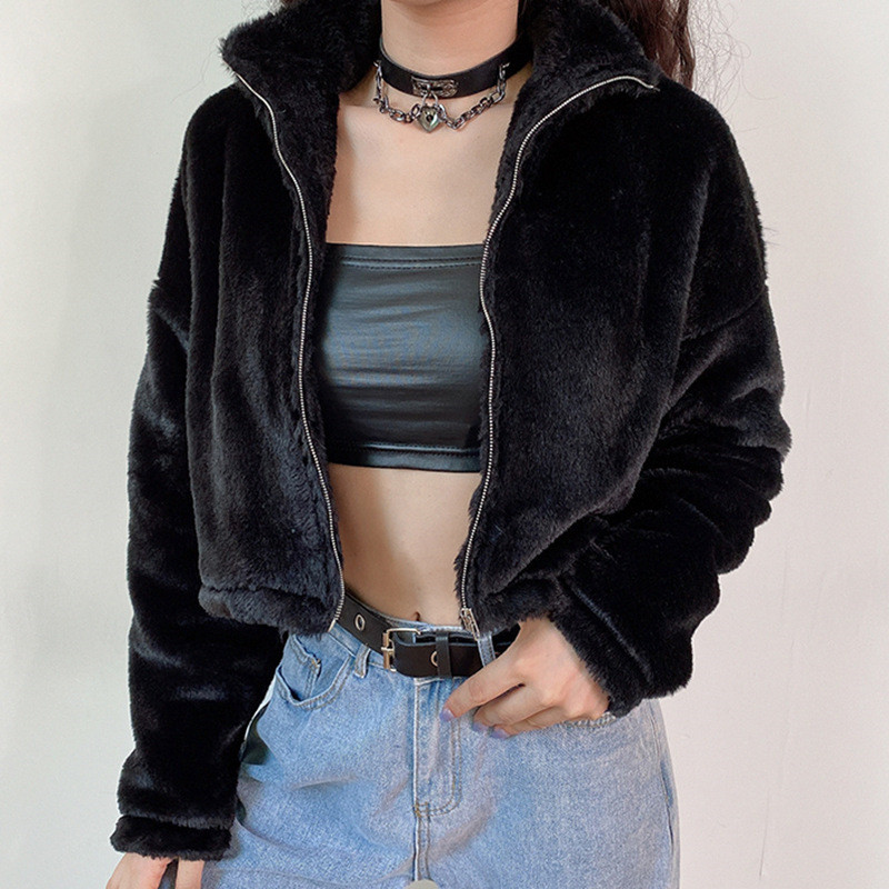 Focal20 Streetwear Solid Color Fluzzy Women Crop Coat Zipper Turtleneck Female Jackets Outers Warm Winter Lady Crop Coats Tops 1