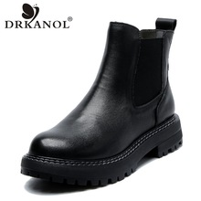 Women Boots Flats Platform Casual-Shoes Genuine-Leather Warm Slip-On Toe DRKANOL Ankle