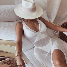 Sexy Dress Backless-Cover-Up Crochet Knitted Side-Split White See-Through Women Summer