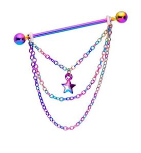 2020 Newest 5 styles 14G Stainless steel 14 Gauge Rainbow Star Triple Chain Dangle Industrial Barbell 38mm