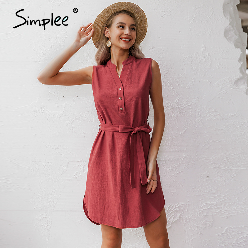 Simplee Sleeveless women spring dress Elegant v neck solid single breasted mini dress Summer lady cotton chic belt office dressDresses   -