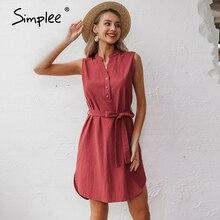 Simplee Sleeveless women spring dress Elegant v neck solid single breasted mini dress Summer lady cotton chic belt office dress