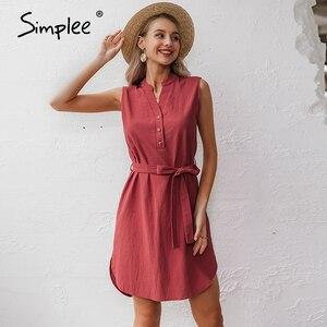 Image 1 - Simplee Vestido corto de algodón sin mangas, vestido elegante de mujer para oficina, liso, con cuello de pico y una sola hilera de botones para verano
