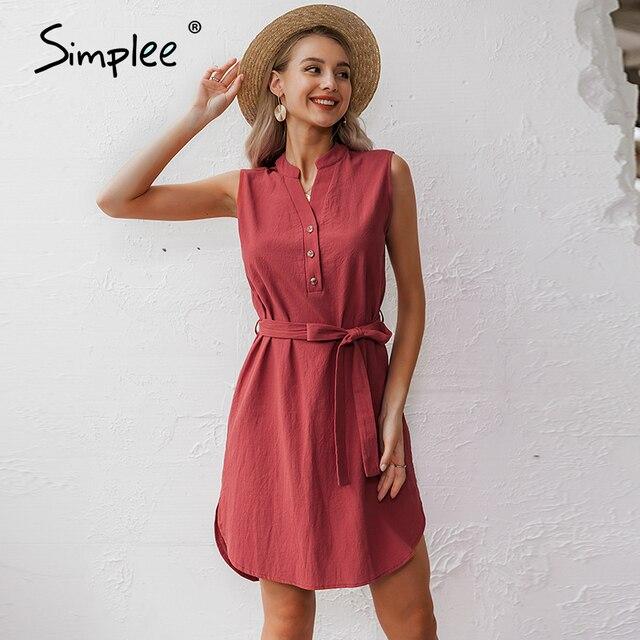Simplee Vestido corto de algodón sin mangas, vestido elegante de mujer para oficina, liso, con cuello de pico y una sola hilera de botones para verano