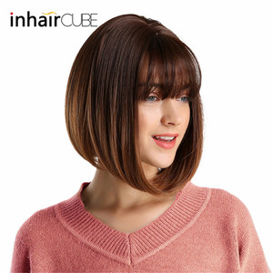 Image 4 - Inhair Cube 10 Inches Bob Synthetic Flat Bangs Women Wig Ombre with Highlight Short Straight Hair Wig  Cosplay Hairstyle