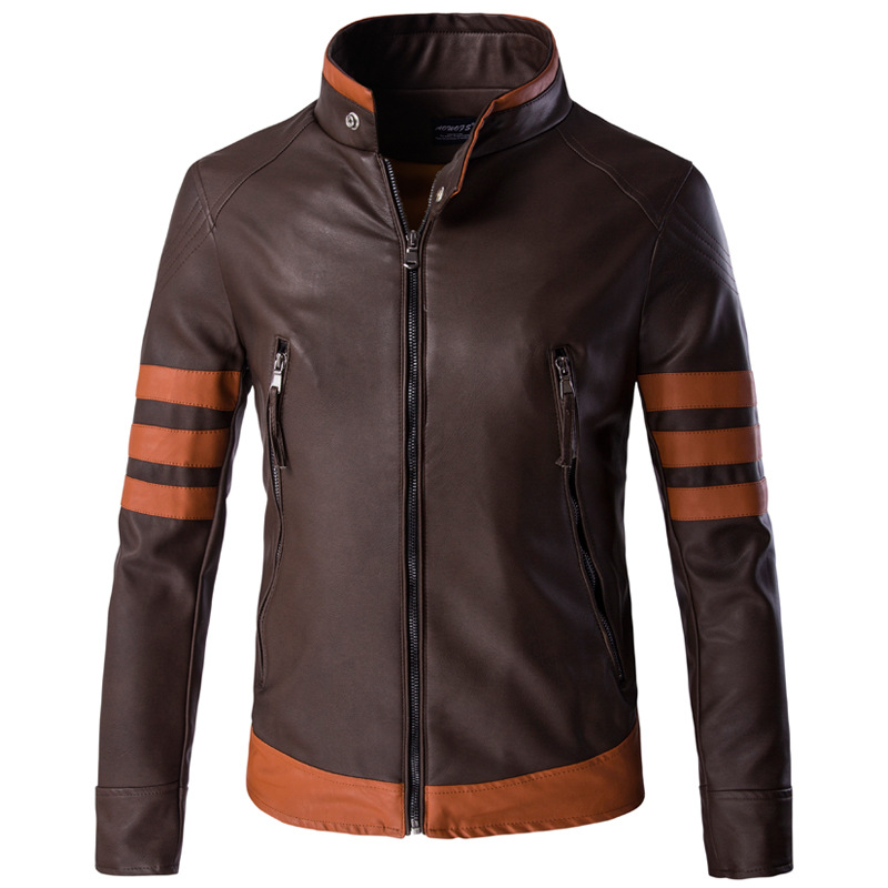 High-end brand men's zipper leather jacket Wolverine casual PU leather locomotive coat Logan bomber jacket slim coat size M-5XL 3
