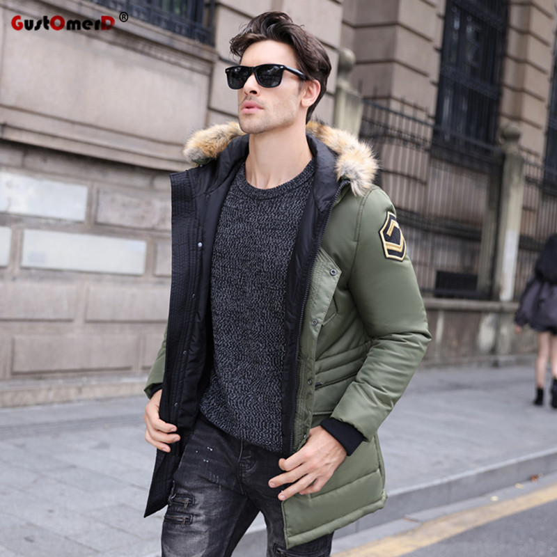 GustOmerD 2019 Fashion Multi-pocket Long Style Winter Coat Men Fur Collar Thicken Parka Warm Winter Jacket Men Casual Overcoat
