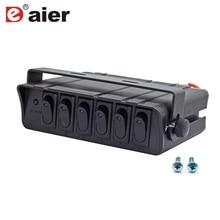80 Amp вкл./выкл. 20A Rocker Switch Box аварийный стробоскоп светильник светодиодный с подсветкой 12AWG вход провод 12V SPST 6 Gang панель тумблера