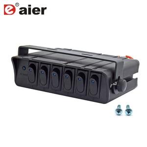 Image 1 - 80 Amp On/Off 20A Rocker Switch Box Emergency Strobe Light LED Backlit 12AWG Input Draad 12V SPST 6 Gang Toggle Controller Panel