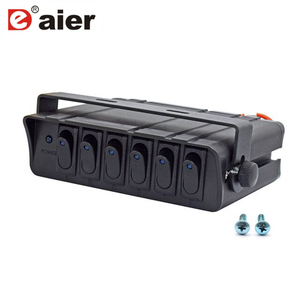 Image 1 - 80 Amp On/Off 20A Rocker anahtarı kutusu acil durum elektronik flaşı LED arkadan aydınlatmalı 12AWG giriş kablosu 12V SPST 6  Gang geçiş kontrol paneli