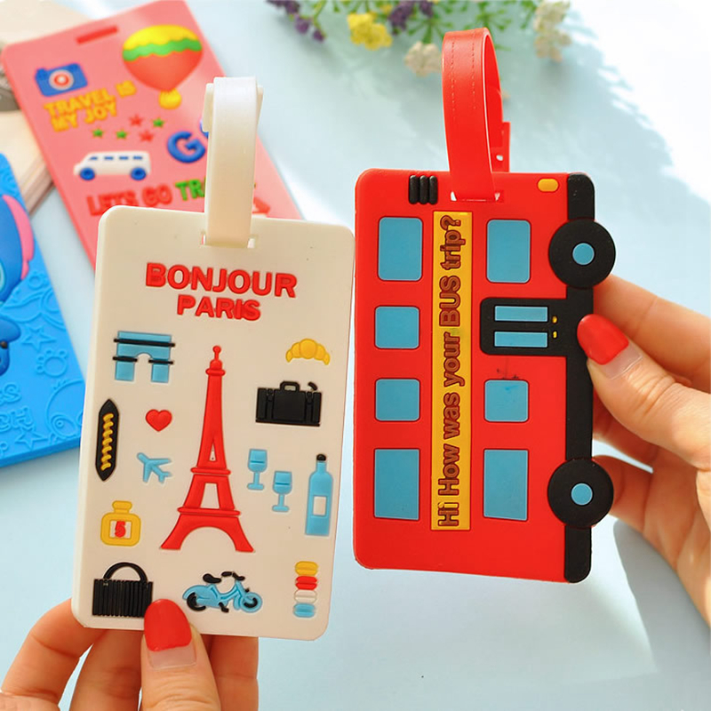 Cartoon Letter Bus Luggage Tags Portable Silica Gel Suitcase Address Holder Label Baggage Boarding Women Travel Accessories