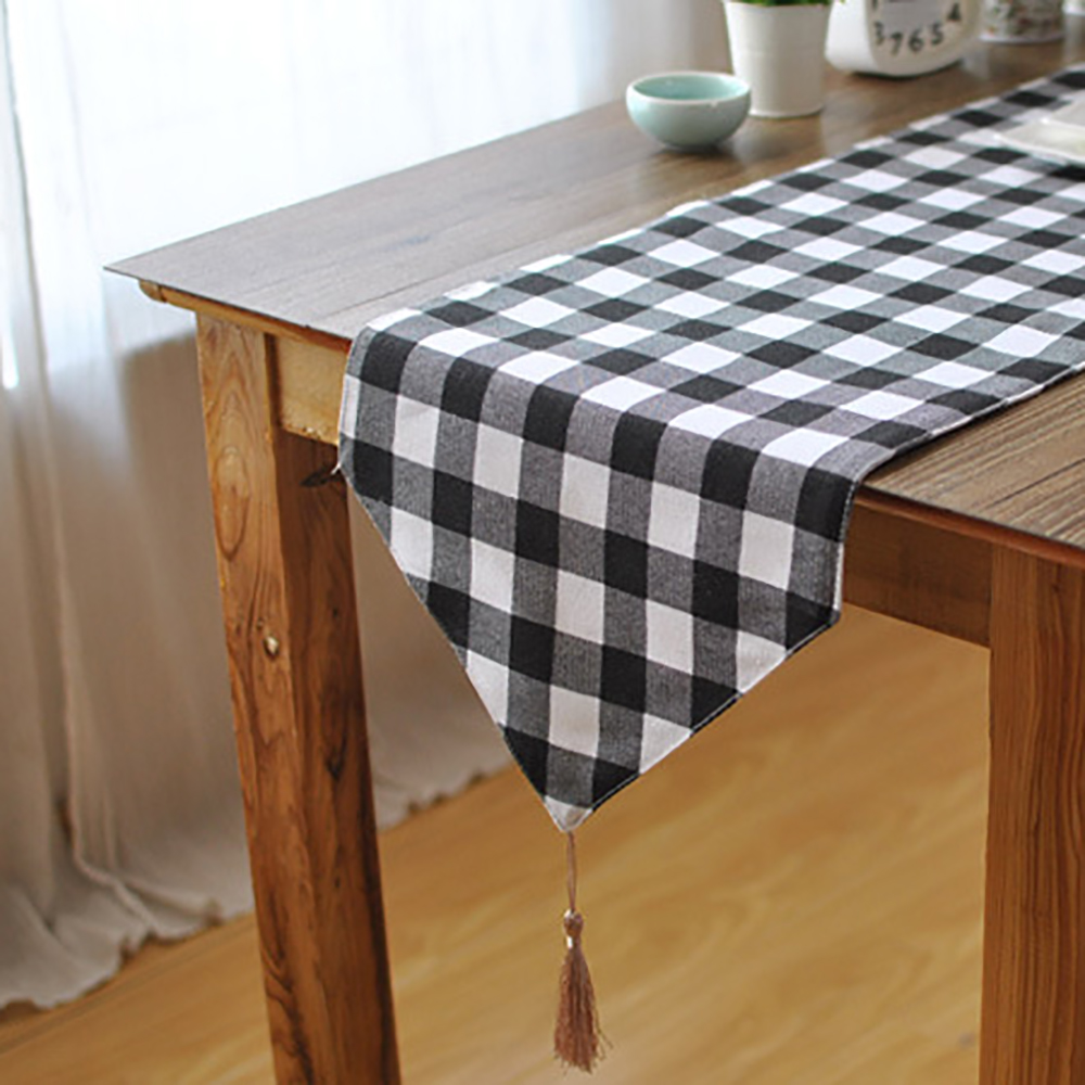 Lychee DIY Black And White Plaid Table Runner Simple Cotton Linen Stripes Table Runner For Home Wedding Birthday Party Outdoor