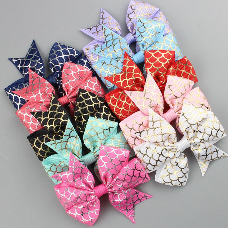 10pcs Girls Hair Clips Mermaid Hairpins Sparkly Hairgrips Barrettes Hair Accessories Swallowtail Bow WITH/WITHOUT CLIPS